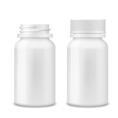 Realistic vector Blank Medicine opened and closed medical plastic bottle with tablets pills, tablets, drug of painkillers, antibiotics, vitamins Isolated on White Background. Health care medical