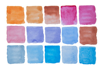 A palette of bright watercolor colors in squares on a white background