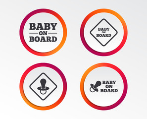 Baby on board icons. Infant caution signs. Nipple pacifier symbol. Infographic design buttons. Circle templates. Vector
