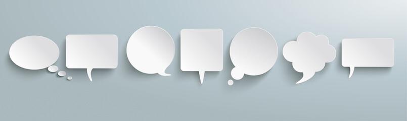 White Paper Speech Bubbles Gray Header