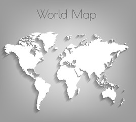 Image of a vector world map. Vector world map background with shadow and flat design style, clean and modern. White world map on a gray background.