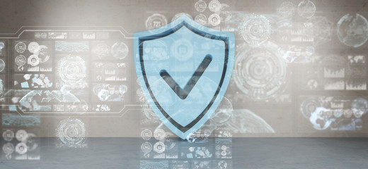 Shield icons in interior with web interface 3D rendering
