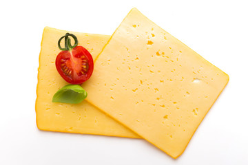 Cheese slice isolated on the white background.