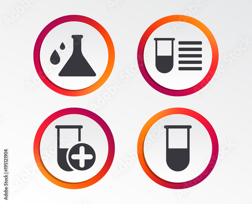 Chemistry Bulb With Drops Icon Medical Test Signs Laboratory