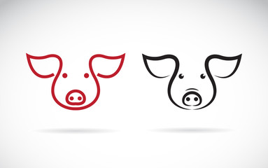 Vector of a pig head design on a white background. Farm animals. Easy editable layered vector illustration.