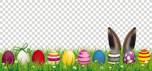 Easter Eggs Bunny Ears Grass Transparent Header