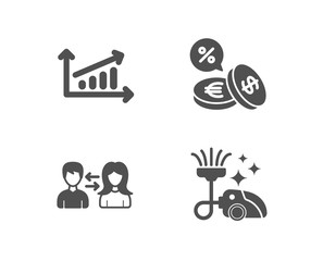 Set of Chart, People communication and Currency exchange icons. Vacuum cleaner sign. Presentation chart, People talking, Euro and usd. Vacuum-clean.  Quality design elements. Classic style. Vector