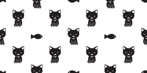 cat seamless pattern black cat vector fish isolated wallpaper background white