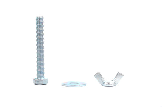 Hex bolt with hexagonal head isolated on white background.