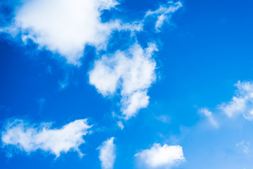 Beautiful blue sky with sparse clouds