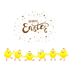 Six yellow chickens on white background and text Happy Easter