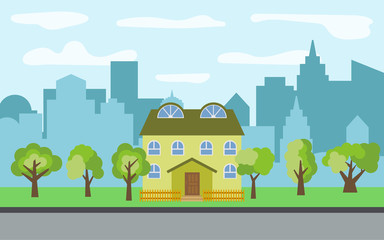 Vector city with two-story cartoon houses and green trees in the sunny day. Summer urban landscape. Street view with cityscape on a background