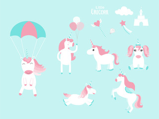 Set of cute unicorns and elements for your design,fairytale,icons,animal,horse,Vector illustrations.