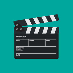 Movie Slate or Clapper board for Movie, Cinema, Film Director and Film making device. Flat Vector illustration.