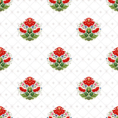 Vector seamless background with floral ukrainian pattern in the style of Petrykivka painting and background with pattern similar to cross stitch.