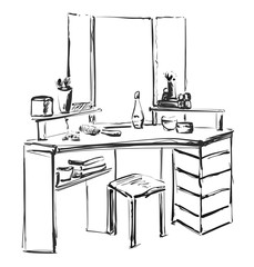 Dressing table with mirror. Vector sketch. Furniture