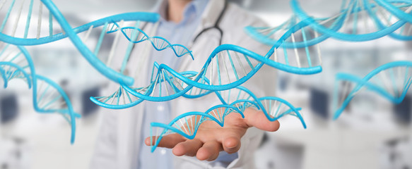 Doctor holding blue digital DNA structure 3D rendering