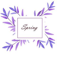 watercolor summer and spring floral frame illustration