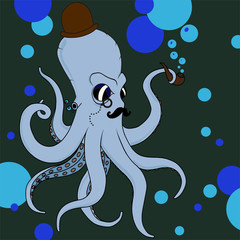 vector retro octopus in hat, monocle and tube in blue color