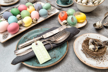 Easter decoration colorful eggs Holidays food