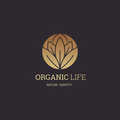 Organic life Logo template design for beauty spa, green ,yoga, medicine, Nature, vegan food, cosmetic and hotel brand identity.