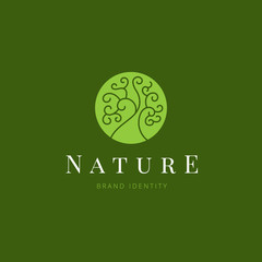 Nature Logo template design for beauty spa, green ,yoga, medicine, organic, vegan food, cosmetic and hotel brand identity.