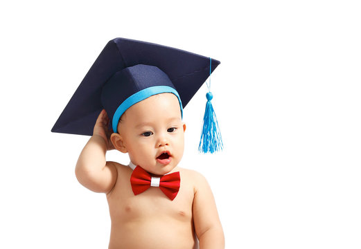 Asian baby boy graduation isolated.Clipping path.