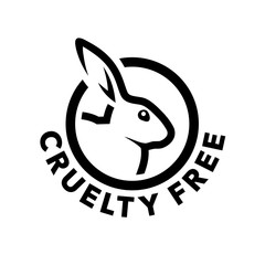 Cruelty free concept logo design with rabbit symbol. Not tested on animals icon. Vector illustration.