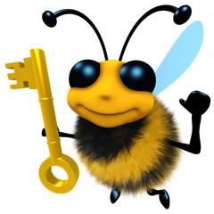 3d Funny cartoon honey bee character holding a gold key