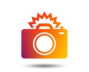 Photo camera sign icon. Photo flash symbol. Blurred gradient design element. Vivid graphic flat icon. Vector