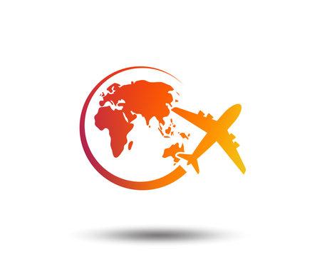 Airplane sign icon. Travel trip round the world symbol. Blurred gradient design element. Vivid graphic flat icon. Vector