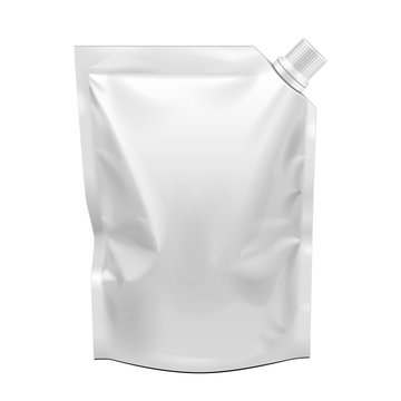Blank Food Flexible Blank Stand Up Pouch Bag With Corner Spout Lid. Mock Up, Template. Illustration Isolated On White Background. Ready For Your Design. Product Packaging. Vector EPS10