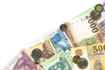 some hungarian forint bank notes and coins llustrating growing economy and investment with copy space