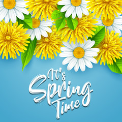 It's spring time background with flowers