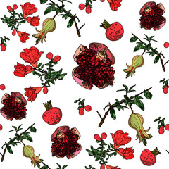 Seamless pattern with pomegranate.