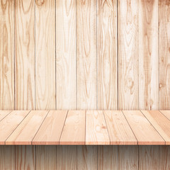 Empty wooden shelf on Wood wall texture background.