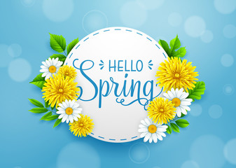 Hello Spring background with wreath, and frame round paper