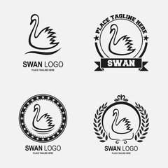 Swan icon collection set black and white