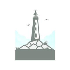 light house creative shape mascot vintage logo