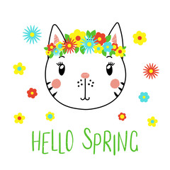 Hand drawn vector portrait of a cute funny cat with flowers, text Hello Spring. Isolated objects on white background. Vector illustration. Design concept for children.