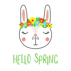 Hand drawn vector portrait of a cute funny bunny with flowers, text Hello Spring. Isolated objects on white background. Vector illustration. Design concept for children.