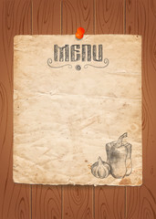 Menu of restaurant with vegetables on old paper and wooden background