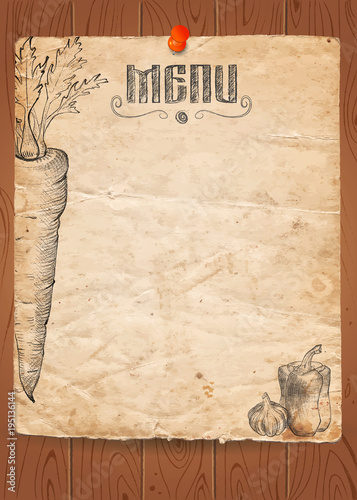 Menu of restaurant with vegetables on old paper and wooden
