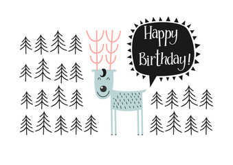 Merry deer wishes a happy birthday.