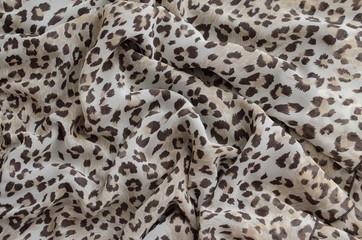 Leopard pattern on chiffon fabric