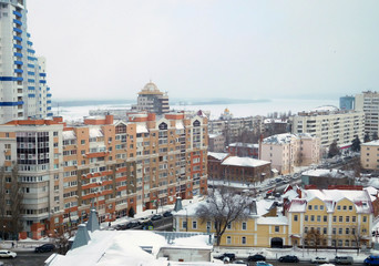 View of the city Samara and Volga river from above in winter