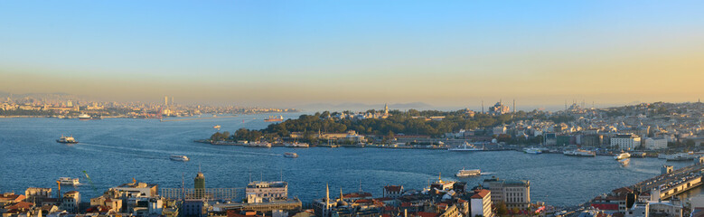 Evening sunset over the roofs and sea  of the Turkish capital - Istanbul.