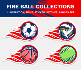 Football fire ball, volleyball fire ball, basketball fire ball, tennis fire ball vector illustration, print, stickers, badges, patches collection.