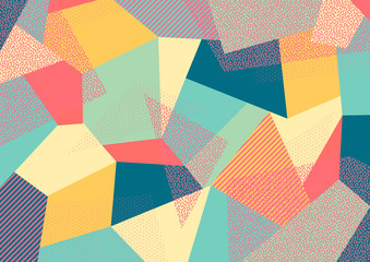 Creative geometric colorful background with patterns. Collage. Design for prints, posters, cards, etc. Vector. Wall mural