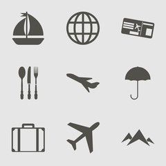 Travel Icon Set with plane , rain, fork and earth